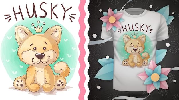 귀여운 테디 허스키-프린트 티셔츠 아이디어