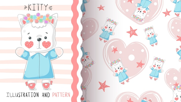 Cute teddy kitty seamless pattern