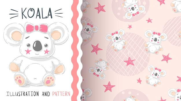 Cute teddy koala - seamless pattern