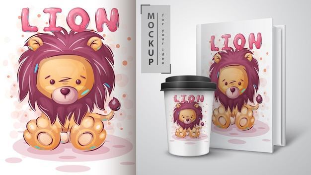 Cute teddy lion poster and merchandising
