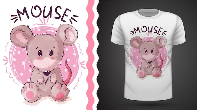 Cute teddy mouse, idea for print t-shirt