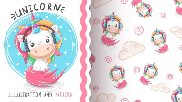 Cute teddy music unicorn - seamless pattern