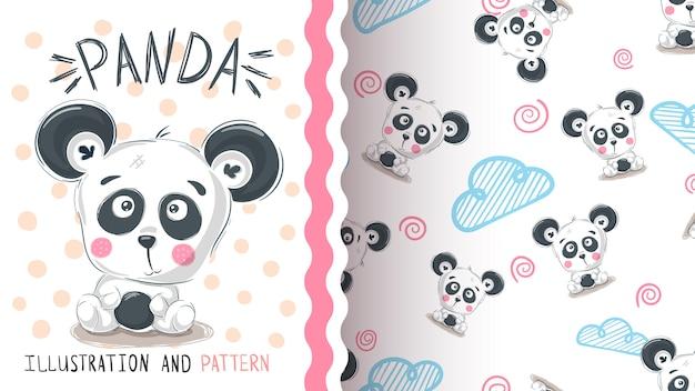 Cute teddy panda - seamless pattern