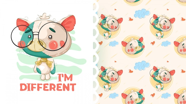 Cute teddy pig with pattern