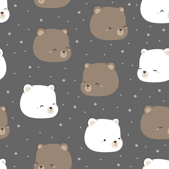 Cute teddy and polar bear cartoon doodle flat design seamless pattern