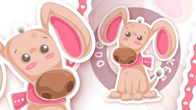 Милый плюшевый щенок - идея для вашей наклейки