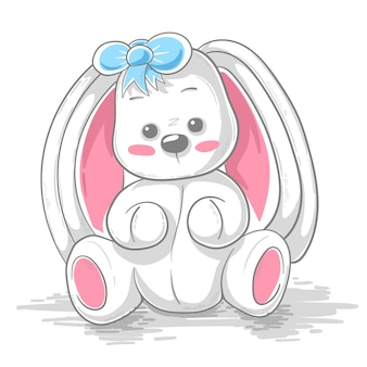 Cute teddy rabbit cartoon illustration