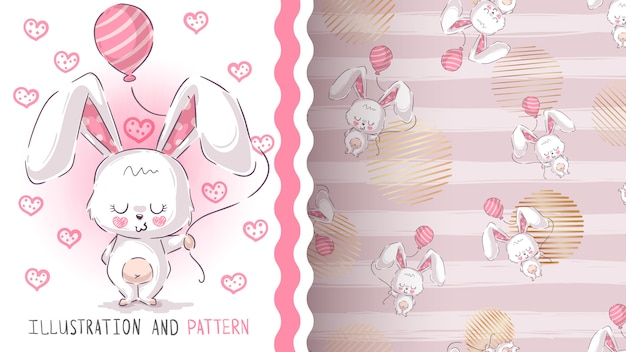 Cute teddy rabbit seamless pattern