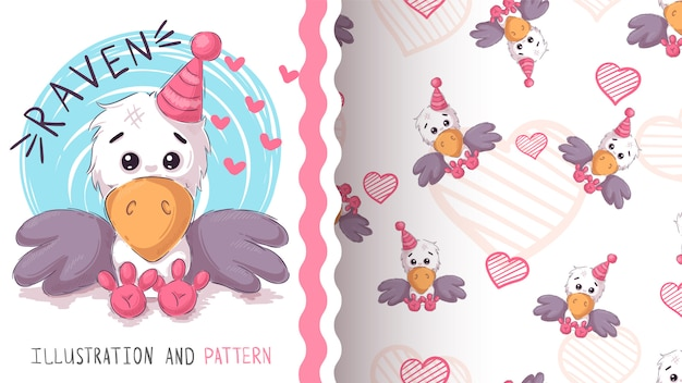 Cute teddy raven - seamless pattern