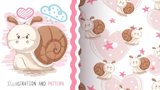 Cute teddy snail seamless pattern