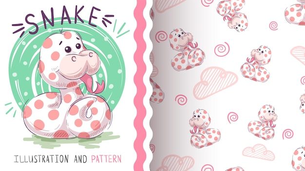 Cute teddy snake seamless pattern