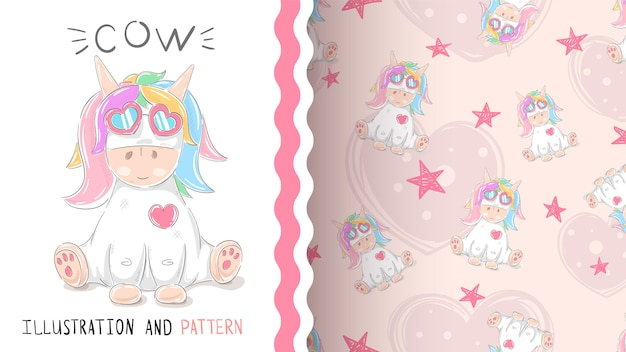 Cute teddy unicorn- seamless pattern
