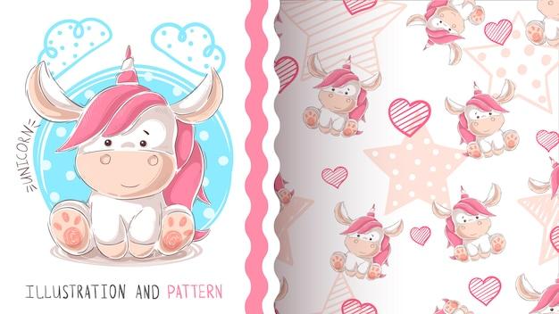 Cute teddy unicorn - seamless pattern