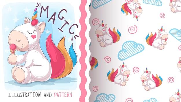 Cute teddy unicorn, seamless pattern