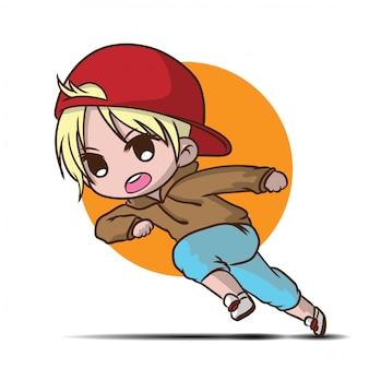 Cute teen student  run to school