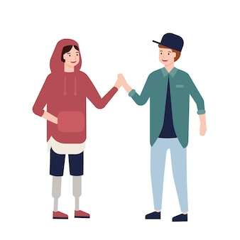 Cute teenage boy with prosthetic legs giving high five to her friend. funny joyful child with artificial limbs and her mate. inclusion of disabled people or kids. flat cartoon vector illustration.