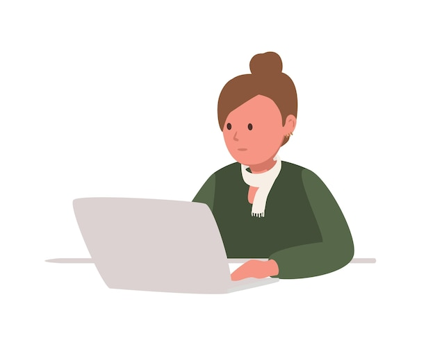 노트북 컴퓨터에 앉아 열심히 공부하는 귀여운 십 대 소녀는 흰색에 고립