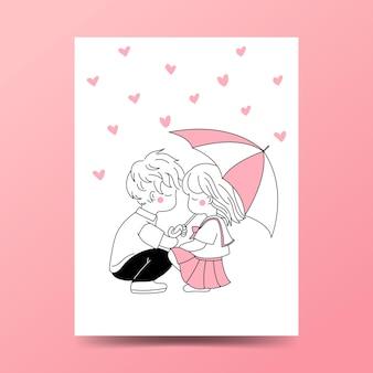Концепция романтики милого подростка.