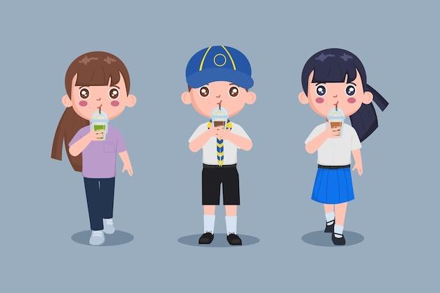 Cute teenagers drinking bubble milk tea