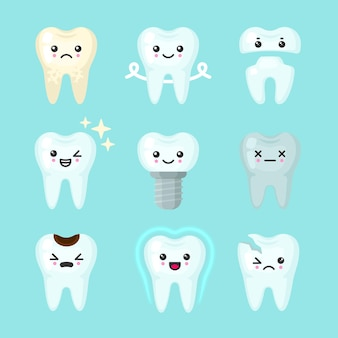 Cute teeth colorful set with different emotions. different tooth conditions.