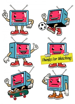 Cute television mascot in various pose
