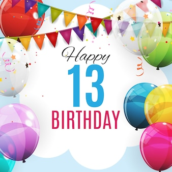 Cute template 13 years anniversary. group of colour glossy helium balloons background