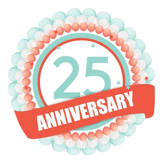 풍선과 리본 vect와 함께 귀여운 템플릿 25 주년