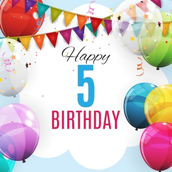 Cute template 5 years anniversary. group of colour glossy helium balloons background
