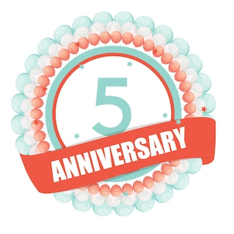 Cute template 5 years anniversary with balloons and ribbon vecto