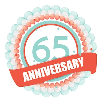 Cute template 65 years anniversary with balloons and ribbon vect