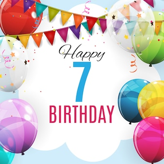 Cute template 7 years anniversary. group of colour glossy helium balloons background