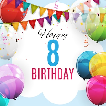 Cute template 8 years anniversary. group of colour glossy helium balloons background