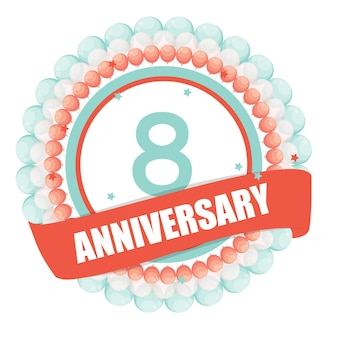 Cute template 8 years anniversary with balloons and ribbon vecto