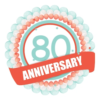 Cute template 80 years anniversary with balloons and ribbon vect