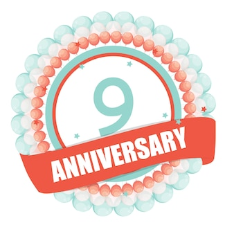 Cute template 9 years anniversary with balloons and ribbon vecto