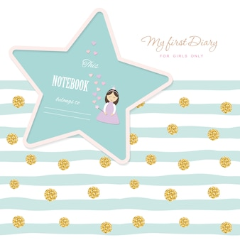 Cute template notebook cover for girls. glitter polka dot