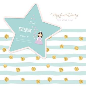 Cute template notebook cover for girls. glitter polka dot