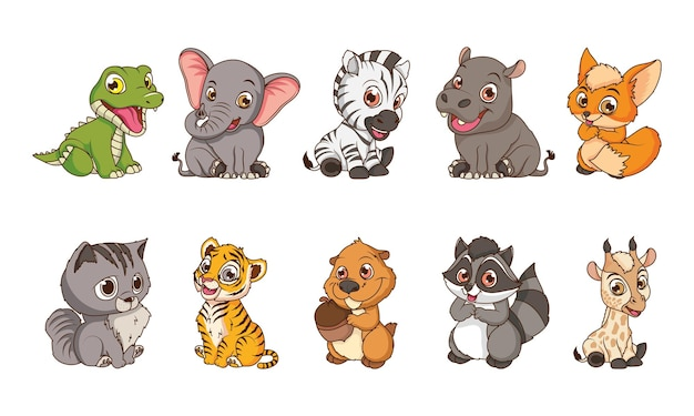 Cute ten animals babies cartoon characters