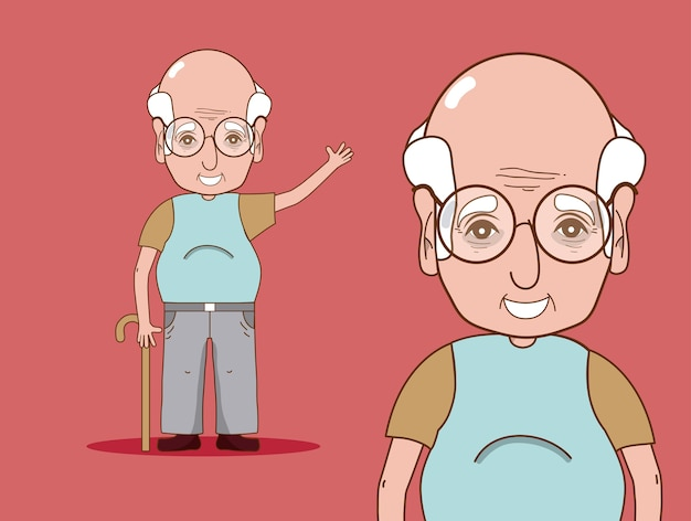 Cute and tender grandfather cartoon