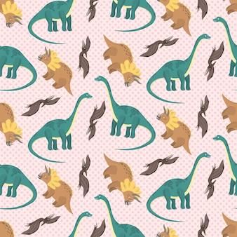 子供のテキスタイルのための漫画の恐竜とかわいい柔らかいピンクのシームレスなパターン