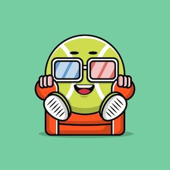 かわいいテニスボールの漫画のキャラクターデザイン