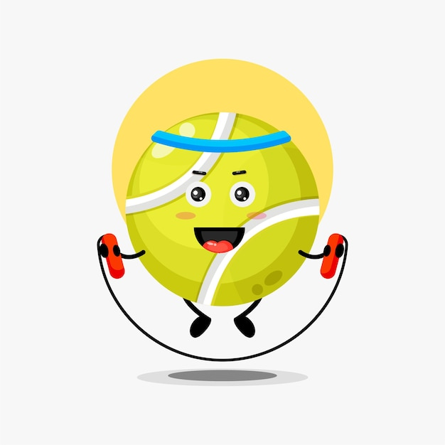 Cute tennis ball character doing jumping rope