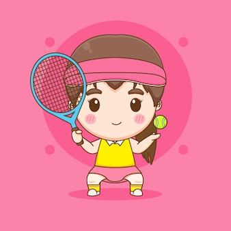 Симпатичная иллюстрация персонажа игрока в теннисный мяч