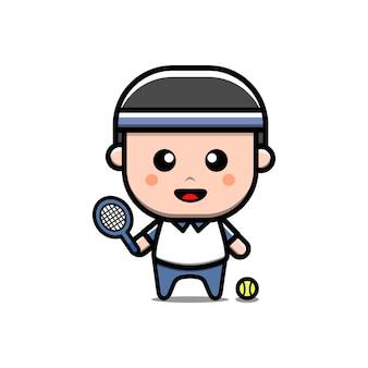 귀여운 테니스 소년 캐릭터 벡터 일러스트 레이션