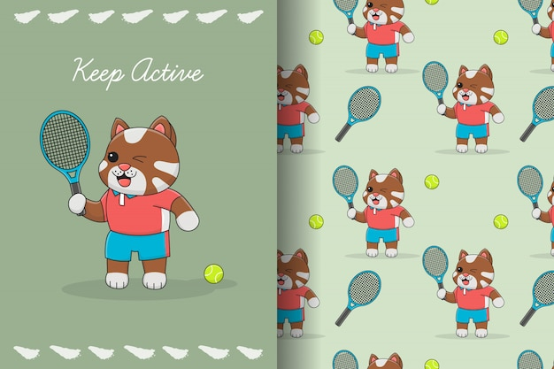 Cute tennis cat seamless pattern and card