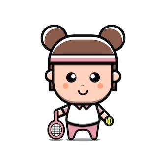 귀여운 테니스 여자 캐릭터 벡터 일러스트 레이션