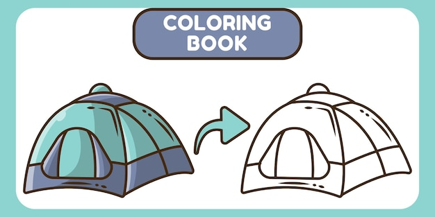 Cute tent hand drawn cartoon doodle coloring book for kids