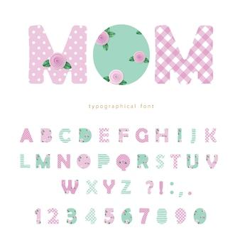 Симпатичный текстильный шрифт в пастельных розовых и голубых тонах