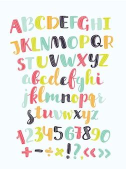 Cute textured sticker alphabet