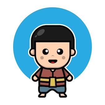 Милый тайский мальчик мультипликационный персонаж